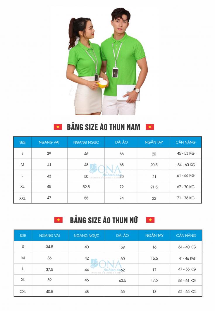 bang size ao thun dong phuc cong ty tai bien hoa dong nai